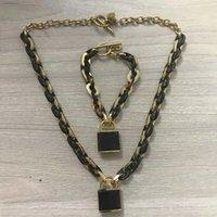Designer Necklace Luxury gold chain for men women locket custom pendants acrylic crude figaro Hip hop punk Rock personality fashion lock pendant necklaces jewelry