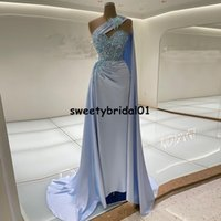One Shoulder Mermaid Prom Dress With Warp 2022 Beads Crystal Evening Dresses for Women Party Gowns