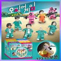 Squid Game With The Same Building Block Toy High Restoration 123 Wooden People Net Celebrity Minifigures Assembled Buildings