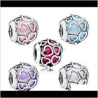 Loose Beads Jewelry Drop Delivery 2021 Summer Authentic Fits For Pandora Bracelets Original Sterling Sier Bead Blue Encased In Love Charm Gws