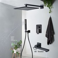 Concealed Bath Faucets Set ORB Brass Rainfall Shower Head Single Handle Mixer Tap Bathroom Accessories