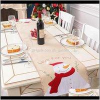 Бегун Льняная чехол Санта-Клаус снеговика таблицы флаг скатерть поместить коврик рождественские украшения DBC 1HHC2 F9VYH