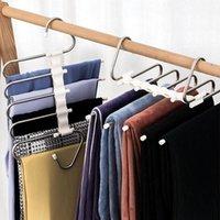 Hangers & Racks 5 In 1 Trouser Storage Rack Adjustable Pants Tie Shelf Closet Organizer Stainless Steel Wardrobe Clothes Hanger