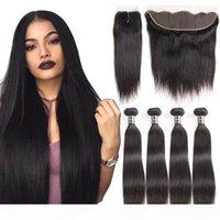 Brésilien Droit Virgin Cheveux Bundle offres Remy Human Hair Weave 4 Bundles avec fermeture 13x4 en dentelle en dentelle en dentelle profonde vague carrosserie Kinky Curl