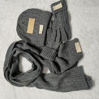 Luxury Beanie Hat Scarf Glove Set Womens Mens Designer Scarves Cap Gloves Winter Ski Warm Unisex Solid Color Sets