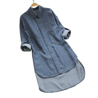 Casual Dresses Irregular Women Denim Shirts Dress Big Size Clothing With Pocket Button Tops Autumn