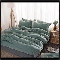 Supplies Textiles Home & Gardensoild Color Bedding Set Brief Modern Duvet Comforter Er Sets 150X200Cm Size Quilt Ers Pillowcase Bed Linens1 D