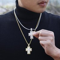 Pendant Necklaces Hip Hop Claw Setting 5A+ Cubic Zirconia Bing Iced Out Cross Pendants Necklace For Men Rapper Jewelry Gift Gold Silver Colo