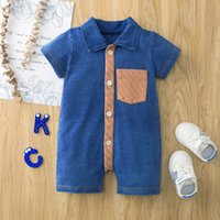 Baby Rompers Boys Bodysuits Babies Clothes Toddler Jumpsuit Knitted Denim Summer Gentleman One Piece Clothing B6181