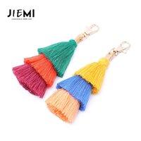 Püsküller Anahtarlık Anahtar Yüzükler El Yapımı Mix Renk Pamuk Püskül Anahtarlıklar Kadın Çanta Charm Moda Takı Aksesuar 1651 Q2
