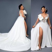 2022 Vintage Arabic Aso Ebi Mermaid Lace Crystals Wedding Gowns Illusion Neck Side Split Detachable Train Overskirts Bridal Dresses Crystal Beads Long Sleeves