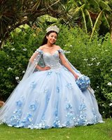 Sky Blue Ball Gown Quinceanera Dresses with cape vestidos de 15 años 2021 Applique floral Backless Sweet 16 Dress Pageant Gowns