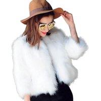 Mujeres Faux Piel Chaqueta de boda 3/4 Mangas Fluffy Peluche Abierto Abrir Cardigan Cardigan Wrap Wrap Bufanda Shaw Vintage Stole Coat Up Abrigo