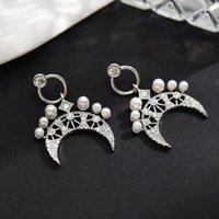Dangle & Chandelier Silver Color Zircon Moon Pearl Fashion Temperament Pendant Earrings Women Unusual Classic Tender Girls Sweet Ear Jewelry