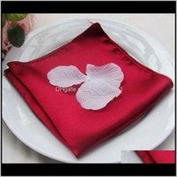 Textiles Jardín Drop Entrega 2021 100pcs 45 x 45cm Tabla de satén Servilletas Cena de boda Paños de la servilleta Pañuelo de bolsillo para el hogar El Party