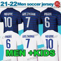 21/22 유럽 축구 유니폼 Maillot # 19 벤즈마 # 10 MBappe 국가 팀 홈 블루 축구 셔츠 2012 # 7 Griezmann # 13 knate # 6pogba 멀리 화이트 축구 유니폼 남성 + 아이들
