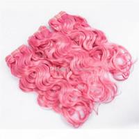젖은 물결 모양의 순수한 핑크 브라질 버진 인간의 머리카락 짜다 확장 물 웨이브 더블 위사 컬러 핑크 인간의 머리카락 번들 3pcs 많이