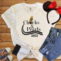 Kadın T-shirt İnci Kolye Gömlek Chuckspearls Klasik Ayakkabı Baskı Hipster Onlara 2021 Yaz Kadın Kısa Kollu Hediye Tops