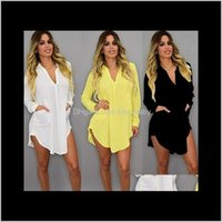 Dresses Womens Apparel Drop Delivery 2021 Skirt V Neck Short Beach Chiffon White Mini Loose Casual T Shirt Dress Plus Size Women Clothing Shl