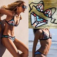 Talla grande Set de bikini para mujer sexy Boho Vendaje Triángulo Halter Swimwear Push Up Sujetador acolchado Folk-Pedido personalizado estilo traje de baño Baño 907 Z2