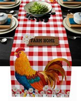 Red Plaid Small Daisy Rooster Farm Modern Party Dining Runner Wedding Decor Tablecloth and Placemats