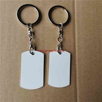 sublimation white aluminum blank keychains hot transfer printing key ring material two sides printed 15pieces lot 210409