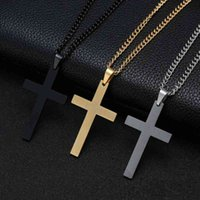 Necklace Cross & Pendants for Men Stainless Steel Gold Colour Male Pendant Necklaces Prayer Friend Jewelry Gift