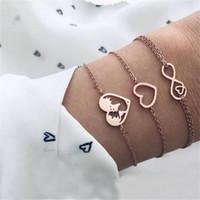 Enlace, cadena romance amor 8 palabra mapa de corazón pulseras de oro señora dama boda joyería accesorios femenino pulsera conjunto