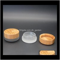 Flaschen Verpackung Büroschule Business Industrial Drop Lieferung 2021 5ml Mattes Glas Glas mit Bambusdeckel Wachs Kosmetik 5g Lagerung Containe