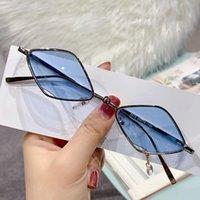 Elbru parallelogram moldura retro metal óculos de sol ao ar livre protetor solar sunshade moda pequenos pingentes uv400