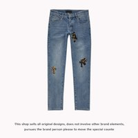 Trend Jeans Trendy Fog Amir Wash Blue Old Punk Ch Leather Embroidered Leopard Cross Slim Jeans High Street