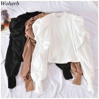 Woherb White Solid Puff Long Sleeve Blouse Women Tops Office Lady Spring Summer O-Neck Elegant Knitted Slim-fit Shirt Blouses 210430