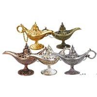 Fairy Tale Aladdin Magic Lamp Vintage Censer Creative Metal Aroma Burner Incense Burners Christmas Gift Wedding Gifts EWF10181