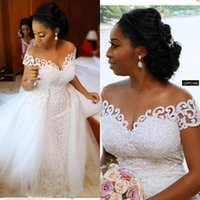 2020 Charming African Nigerian Mermaid Wedding Dresses With Detachable Train Full Lace Applique Sheer Off The Shoulder Bridal Gowns