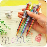 Novelty 6 In 1 Colorful Pens Simple Solid Multifunction Multicolor Ballpoint Pen School Student Stationery Colorful Refill Pens