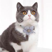 Cat Collars & Leads Pet Necklace Break Away Bling Cute 3D Flower Bell Cloth Adjustable For Kitten Dog