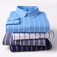 Мужские повседневные рубашки Browon Осень негабаритные 100% Хлопок Полосатый мужской Рубашка с длинным рукавом Slim Бизнес Корейский Для мужчин