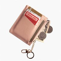 Card Holders Unisex Slim Wallet PU Leather Mini Pouch Zipper ID Credit Bank Holder Case Women Small Pocket Change Money Bags Coin Purse