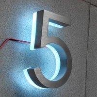 """Großhandel 8 """"High 2 stücke (# 0-9) Türzahl Platten Edelstahl mit LED-Licht Backlit Hausschilder Andere Hardware"""