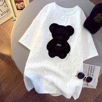 Womens Black Bear Impreso Tshirts Fashion Girls Plus Tamaño Tops Carta de manga corta Camiseta suelta Ropa de verano Camisetas blancas