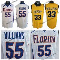 ビンテージホワイトチョコレートジェイソンウィリアムズ#55フロリダゲートカレッジバスケットボールジャージ33デュポンハイスクールステッチシャツイエローメンズS-XXL