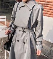 Women's Trench Coats Korean-style spring and autumn thin fitting upper female waist embracing mid-length casual jacket of high quality trench coat IQJK