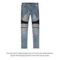 Trend Jeans Wash Fog Amir Water Blue Knee Mx2 Zipper Collage Hole Cut Xu Kun Same Denim Pants Men's and Women's Slp