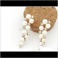 Jewelrystud Brand Bijoux Fashion 18K Gold Charm Crystal Cubic Zircon Diamond Beads Stud Earrings Womens Jewelry Gift Pearl Drop Delivery 202