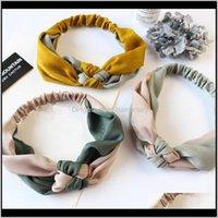 Werkzeuge Produkte Drop Lieferung 2021 Sommer Frauen Haarband Turban Böhmen Patchwork Geknotete Stirnband Mädchen Elastische Twist Cross Bands Headwrap H