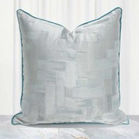 Cushion Decorative Pillow Chinese Style Cushion Cover Silver Gray Geometric Jacquard Sofa Throw Pillowcase High Precision Home Decorative Pi