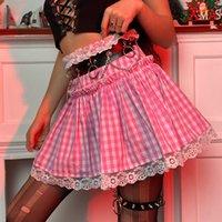 Сексуальные юбки шорты y2k эстетический плед милая юбка линия kawaii розовая женщина лето юбки короткие сроки с высокой жизнью сладкий опрятный стиль
