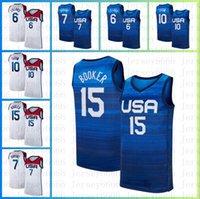 Девин 15 Букер Кевин 7 Дюрант Баскетбол Джерси 6 Дамиан Лиллард Джерси 10 Jayson Tatum 2020 Мужская Национальная команда USA Летняя Олимпийская