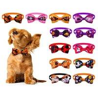 Dog Odzież Halloween Dogs Bow Ties Collar Regulowane Bowties Krawaty Pet Grooming Akcesoria do małych szczeniąt kot XBJK2109