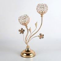 Candle Holders 2-Arms Crystal Metal Candelabras Delicate Gold Candlesticks Wedding Flower Patter Home El Decor